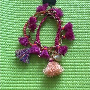 Express tassel bunch bracelets set of three